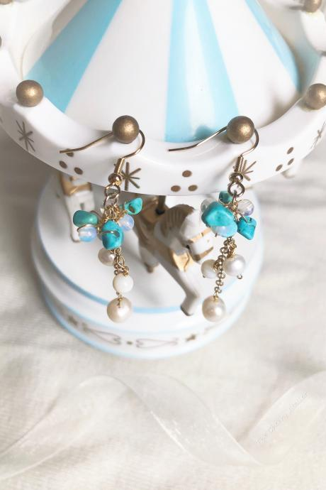 Earrings - Freshwater pearls, moonstone, turquoise buts, shell pearl and 14k gold plated, Bridesmaid, new beginnings