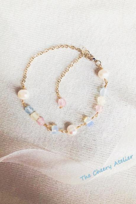 Dreamy tricolor pastel color bracelet, morganite, Freshwater pearls, moonstone, 14K gold plated, new beginning, dainty, Bridesmaid